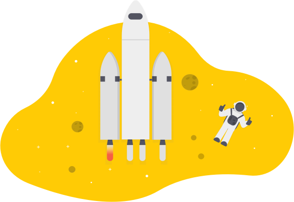 rocket ship in space with astronaut floating alongside